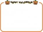 シンプルなかぼちゃのハロウィン文字入り橙フレーム飾り枠イラスト