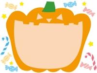 大きく口を開いたかぼちゃのハロウィンフレーム飾り枠イラスト