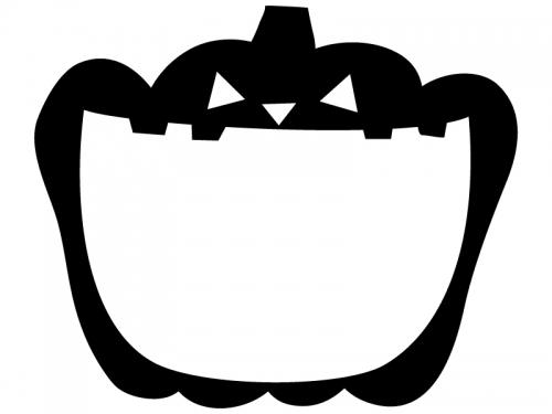 口を開いたかぼちゃの白黒ハロウィンフレーム飾り枠イラスト