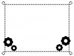 小花の点線白黒モノクロフレーム飾り枠イラスト