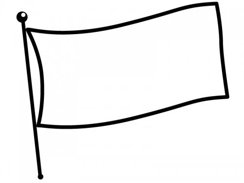 なびいた旗の白黒フレーム飾り枠イラスト