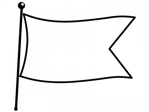 なびいた旗の白黒フレーム飾り枠イラスト02