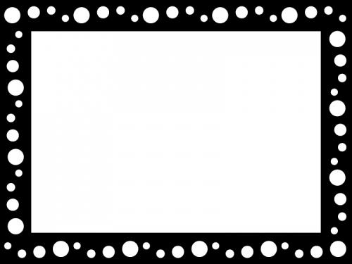水玉模様の白黒囲みフレーム飾り枠イラスト