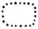 落書き風の星の白黒フレーム飾り枠イラスト