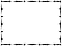 大小の丸い点線の白黒フレーム飾り枠イラスト