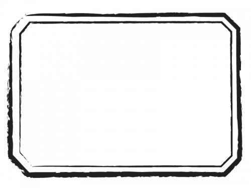 かすれ線の和風ラベルの白黒フレーム飾り枠イラスト