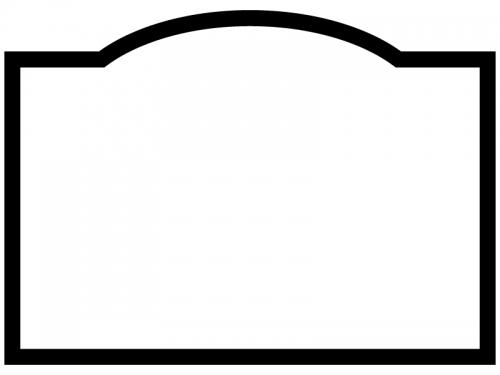 白黒のシンプルなラベル風フレーム飾り枠イラスト