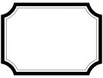 白黒のラベル風フレームの飾り枠イラスト