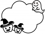 ハロウィンのかぼちゃとおばけの白黒フレーム飾り枠イラスト