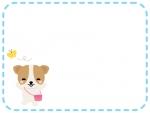 かわいい犬とちょうちょの点線フレーム飾り枠イラスト
