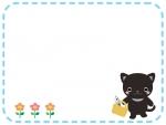 かわいいネコとお花の点線フレーム飾り枠イラスト