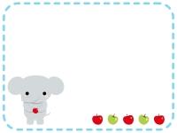 かわいいゾウとリンゴの点線フレーム飾り枠イラスト