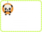 タイヤで遊ぶかわいいパンダのフレーム飾り枠イラスト