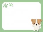 かわいい犬と肉球のフレーム飾り枠イラスト