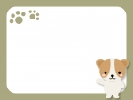 かわいい犬と肉球の茶色いフレーム飾り枠イラスト