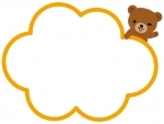 ウィンクをするクマのモコモコフレーム飾り枠イラスト