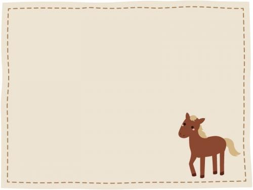 かわいいウマの点線フレーム飾り枠イラスト 無料イラスト かわいい