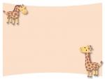 かわいい二匹のキリンのフレーム飾り枠イラスト