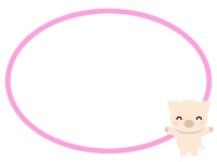 かわいいブタとピンク色の楕円フレーム飾り枠イラスト