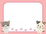 二匹のネコと水玉ピンクフレーム飾り枠イラスト
