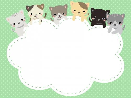 かわいいネコたちのモコモコフレーム飾り枠イラスト