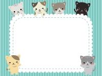 かわいいネコたちの水色モコモコフレーム飾り枠イラスト