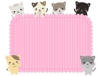 かわいいネコたちのピンクのモコモコフレーム飾り枠イラスト