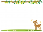 かわいい子鹿と木の枝の上下フレーム飾り枠イラスト