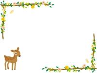 かわいい子鹿と木の枝の左右フレーム飾り枠イラスト