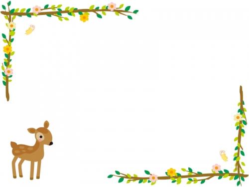 かわいい子鹿と木の枝の左右フレーム飾り枠イラスト 無料イラスト