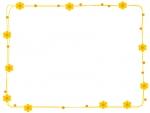 オレンジ色の小花とドットのフレーム飾り枠イラスト