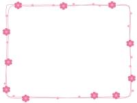 ピンク色の小花とドットのフレーム飾り枠イラスト