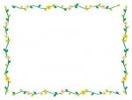 かわいい小花と葉っぱのフレーム飾り枠イラスト