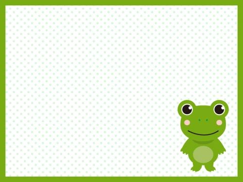 かわいいカエルの緑色の水玉模様フレーム飾り枠イラスト