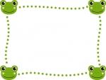 四隅のカエルの緑点線フレーム飾り枠イラスト