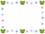 カエルと紫陽花と雨粒のフレーム飾り枠イラスト