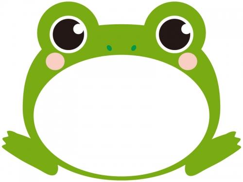 大きく口を開いたカエルのフレーム飾り枠イラスト