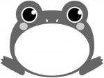 大きく口を開いたカエルの白黒フレーム飾り枠イラスト