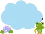 歌うカエルと紫陽花の吹き出しフレーム飾り枠イラスト