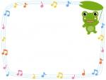 音符と葉っぱを持つカエルのフレーム飾り枠イラスト