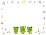 カラフルな音符とカエル達のフレーム飾り枠イラスト