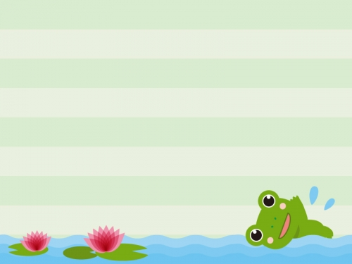 蓮の池を泳ぐカエルのフレーム飾り枠イラスト