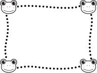 四隅のカエルの白黒点線フレーム飾り枠イラスト