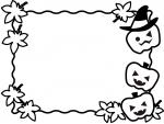 ハロウィンと紅葉の白黒フレーム飾り枠イラスト