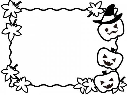 ハロウィンと紅葉の白黒フレーム飾り枠イラスト 無料イラスト かわいい