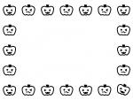 ハロウィンのかぼちゃの白黒囲みフレーム飾り枠イラスト