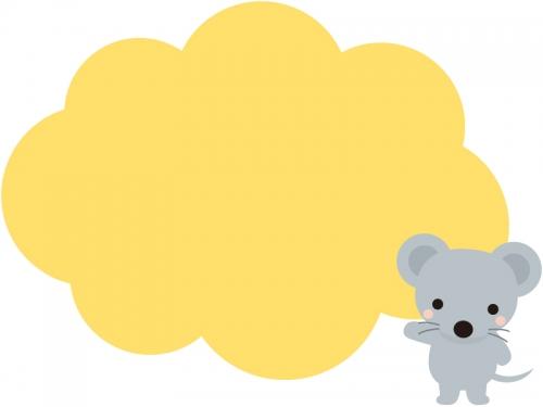 かわいいネズミのモコモコフレーム飾り枠イラスト