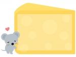 かわいいネズミとチーズのフレーム飾り枠イラスト