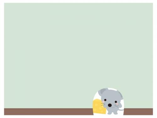 壁から顔を出すかわいいネズミのフレーム飾り枠イラスト