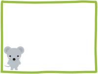 かわいいネズミの緑色フレーム飾り枠イラスト